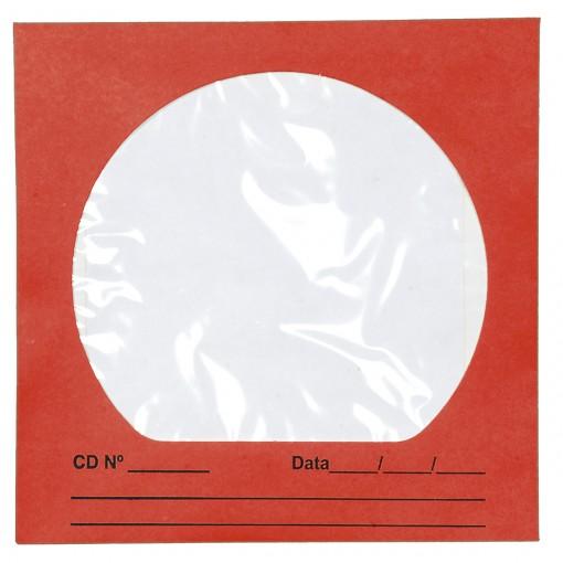 Envelope para CD/DVD Vermelho 125x125mm - Caixa com 100 Unidades