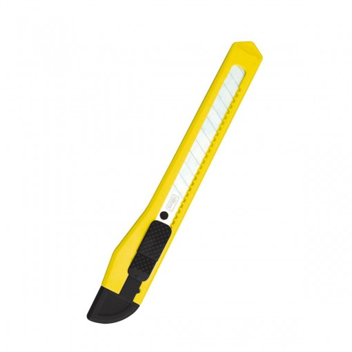 Estilete Estreito de Plástico com Trava ES04 Amarelo