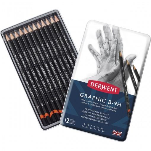 Estojo de lata com 12 lápis Graduado de Alta Dureza B, HB, F, H, 2H, 3H, 4H, 5H, 6H, 7H, 8H e 9H Derwent