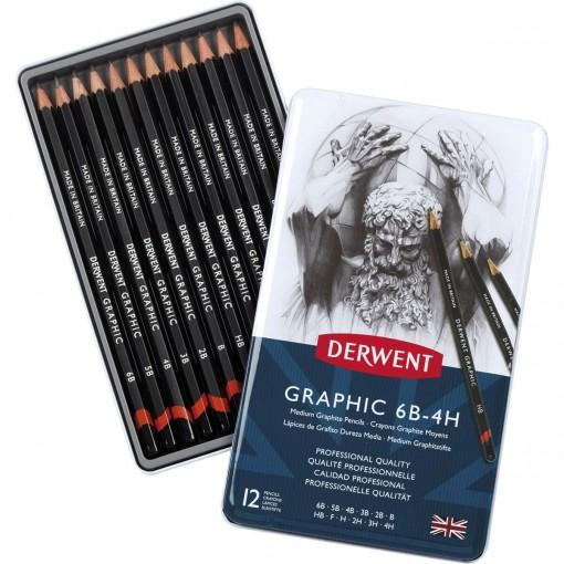 Estojo de lata com 12 lápis Graduado de Média Dureza 6B, 5B, 4B, 3B, 2B, B, HB, F, H, 2H, 3H e 4H Derwent