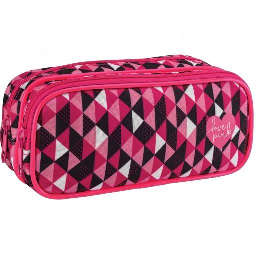 Estojo Duplo Grande Love Pink