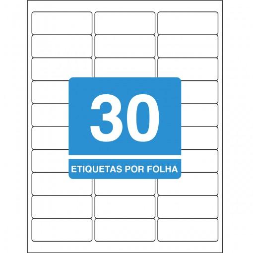 Etiqueta Adesiva Inkjet + Laser Carta 25,4x66,7mm 6080 10 Folhas 300 Unidades