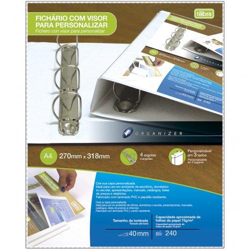 Fichário 4 Argolas Plástico A4 Lombada 40mm com Visor Personalizável