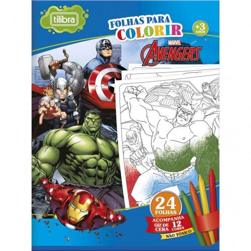 Folhas para Colorir Grande com Giz de Cera Avengers - 24 Folhas