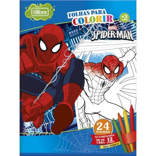 Folhas para Colorir Grande com Giz de Cera Spider-Man - 24 Folhas