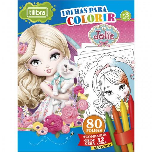 Folhas para Colorir Mini com Giz de Cera Jolie - 80 Folhas