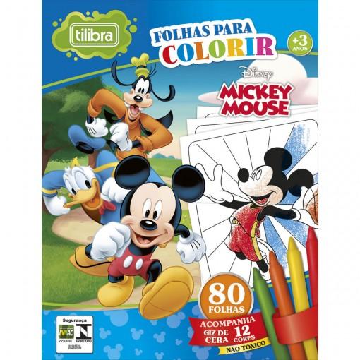 Folhas para Colorir Mini com Giz de Cera Mickey - 80 Folhas