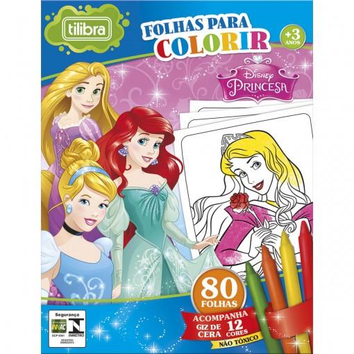 Folhas para Colorir Mini com Giz de Cera Princesas - 80 Folhas