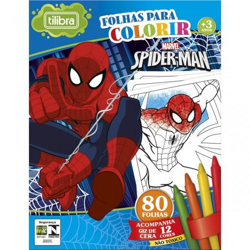 Folhas para Colorir Mini com Giz de Cera Spider-Man - 80 Folhas