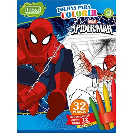 Folhas para Colorir Pequeno com Giz de Cera Spider-Man - 16 Folhas