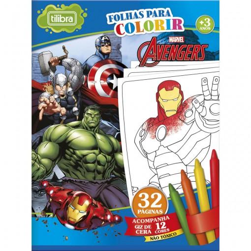 Folhas para Colorir Pequeno com Giz de Cera Avengers - 16 Folhas