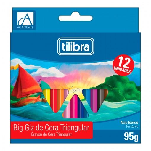 Giz de Cera 12 Cores Big Triangular Académie