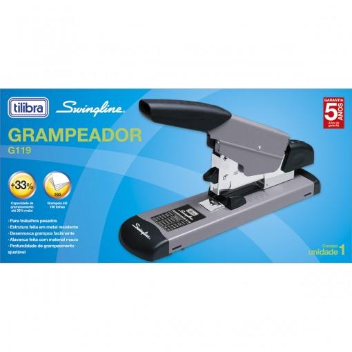 Grampeador 160 Folhas Metálico de Mesa G119 Cinza
