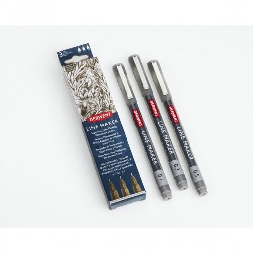 Kit Estojo com 3 Canetas Graphik Line Maker 0,1/0,3/0,5mm Grafite