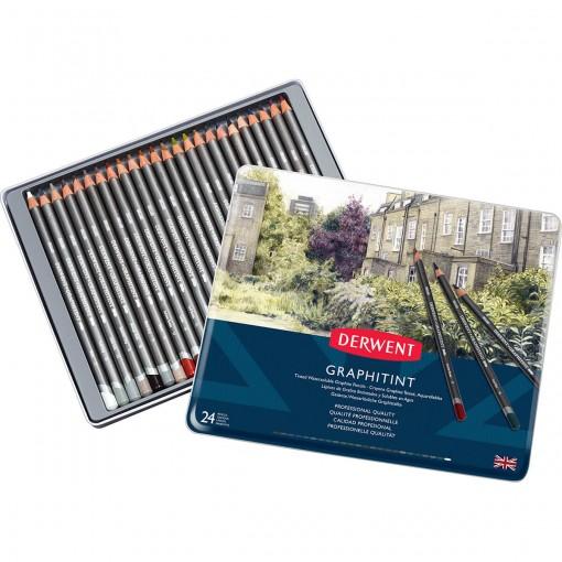 Lápis de Cor Aquarelável Graphitint 24 Cores Estojo Lata