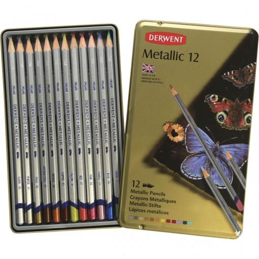 Lápis de Cor Aquarelável Metallic 12 Cores Estojo Lata