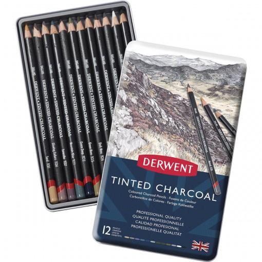 Lápis de Cor em Carvão Tingido 12 Cores Estojo Lata