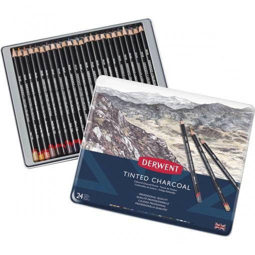 Lápis de Cor em Carvão Tingido 24 Cores Estojo Lata