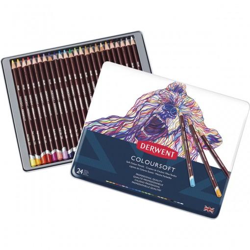 Lápis de Cor Permanente Coloursoft 24 Cores Estojo Lata Derwent