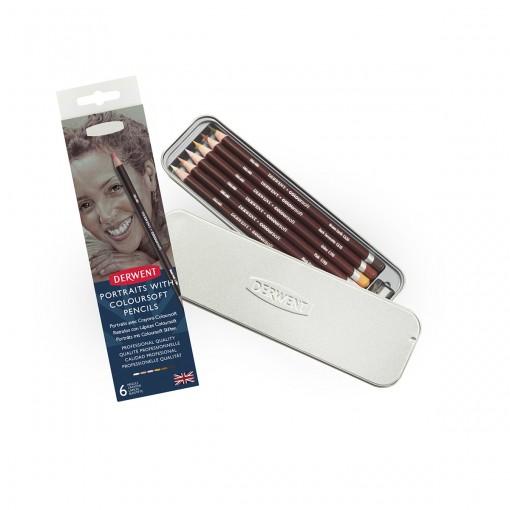 Lápis de Cor Permanente Coloursoft 6 Cores Skintones Estojo Lata