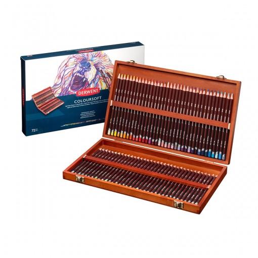 Lápis de Cor Permanente Coloursoft 72 Cores Estojo Madeira Derwent