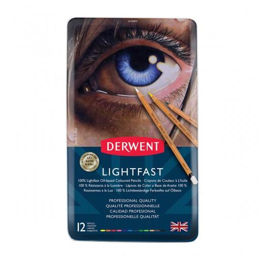 Lápis de Cor Permanente Lightfast 12 Cores Estojo Lata