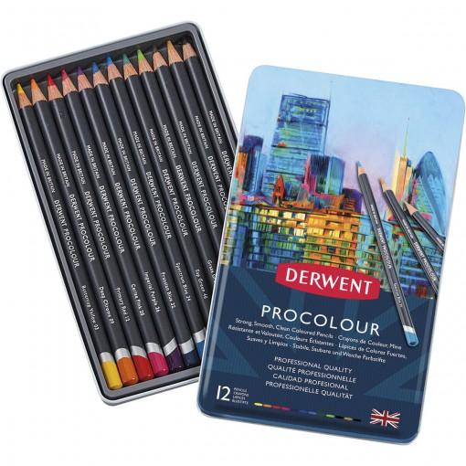 Lápis de Cor Permanente Procolour 12 Cores Estojo Lata