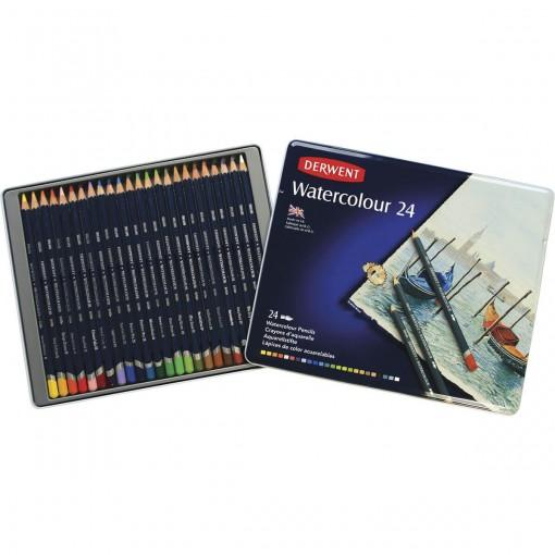 Lápis de Cor Watercolour 24 Cores Estojo Lata