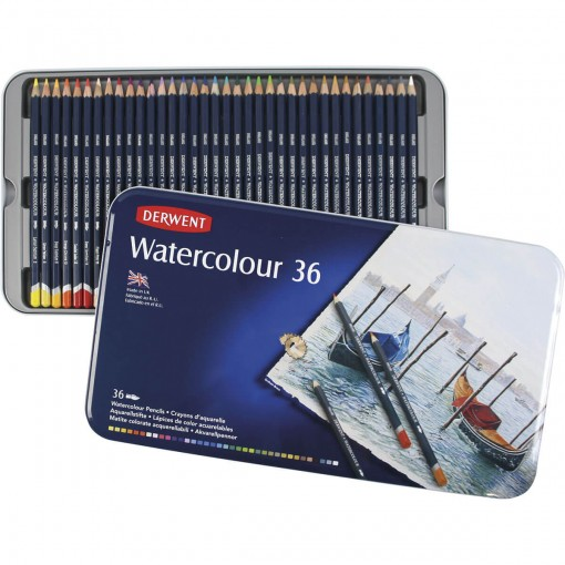 Lápis de Cor Watercolour 36 Cores Estojo Lata
