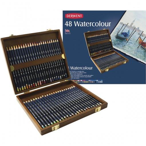 Lápis de Cor Watercolour 48 Cores Estojo Madeira Derwent