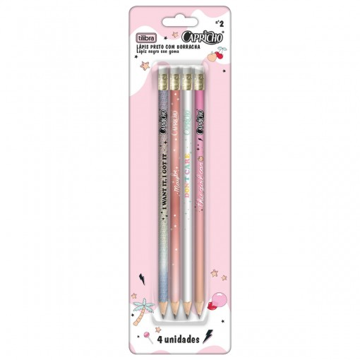 Lápis Preto Redondo com Borracha N.2 Capricho - Blister com 4 unidades