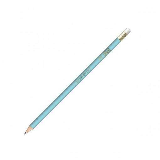 Lápis Preto Redondo com Borracha N.2 Happy (Caixa com 72 unidades) (Caixa com 72 unidades) - Sortido