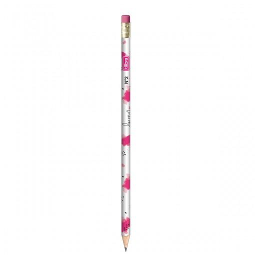 Lápis Preto Redondo com Borracha N.2 Love Pink (Caixa com 72 unidades)