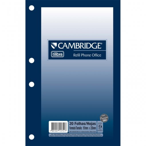 Refil Índice Telefônico Cambridge Phone Office - 20 Folhas