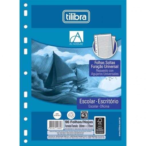 Refil Tiliflex Folhas Soltas com Furação Universal para Caderno Argolado Universitário Académie 96 Folhas