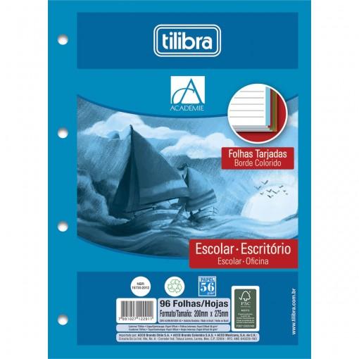 Refil Tiliflex para Caderno Argolado Universitário Académie Tarjado 96 Folhas