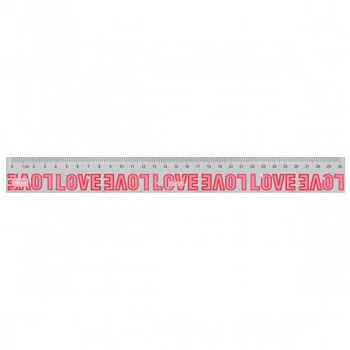 Régua em Poliestireno 30cm Love Pink