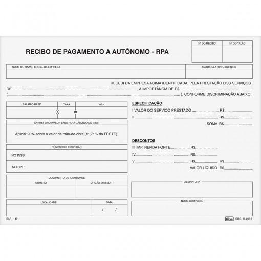 Recibo de Pagamento Autonomo IAPAS 25x3 Vias - 75 Folhas