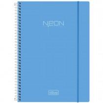 Caderno Espiral Capa Plástica Universitário 10 Matérias Neon Azul 200 Folhas
