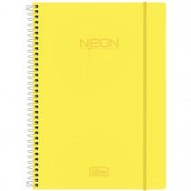Imagem - Caderno Espiral Capa Plástica Universitário 10 Matérias Neon Amarelo 200 Folhas
