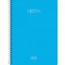 Imagem - Caderno Espiral Capa Plástica 1/4 Sem Pauta Neon Azul 96 Folhas