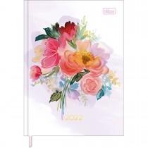 Imagem - Agenda Costurada Diária 12,3 x 16,6 cm Feminine 2022 - Flores Buquê Central - Sortido