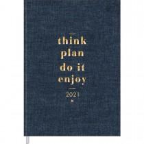 Imagem - Agenda Costurada Diária de Mesa Executiva Cambridge Denim 2021