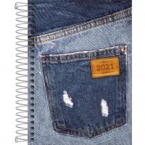 Imagem - Agenda Espiral 2 Dias por Página 13 x 18,8 cm Jeans 2021 - Sortido
