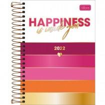 Imagem - Agenda Espiral Diária 14 x 20 cm Love Pink 2022 - Happiness Is Inside You - Sortido
