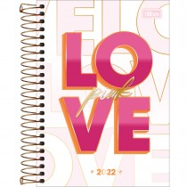 Imagem - Agenda Espiral Diária 14 x 20 cm Love Pink 2022 - Love Pink Fundo Branco - Sortido