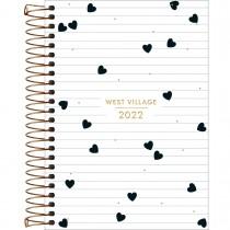 Imagem - Agenda Espiral Diária 14 x 20 cm West Village 2022 - Fundo Branco com Listras e Corações - Sortido