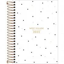 Imagem - Agenda Espiral Diária 14 x 20 cm West Village 2022 - Fundo Branco com Poá - Sortido