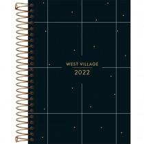 Imagem - Agenda Espiral Diária 14 x 20 cm West Village 2022 - Fundo Preto com Quadriculado - Sortido