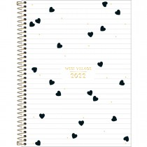 Imagem - Agenda Espiral Diária 20 x 27,5 cm West Village 2022 - Fundo Branco com Listras e Corações - Sortido